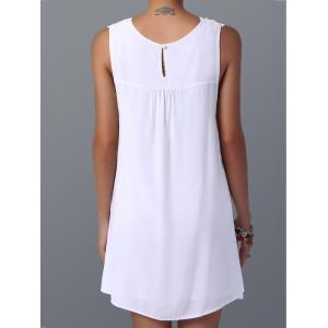 Lace Panel Spring Casual Summer Tunic Dress - WHITE L