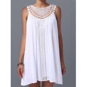 Lace Panel Spring Casual Summer Tunic Dress - WHITE XL