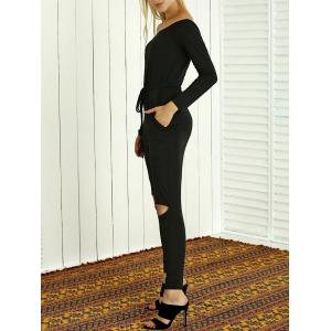 Off-The-Shoulder Drawstring Hollow Out Jumpsuit - BLACK 2XL