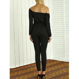 Off-The-Shoulder Drawstring Hollow Out Jumpsuit -
