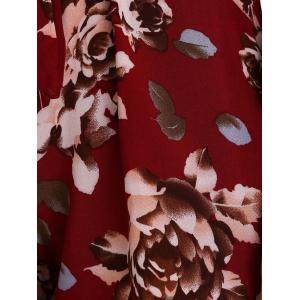 Front Tied Flower Print Long Sleeve Pants Romper - DEEP RED S
