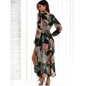 Big Flower Print V Neck Long Sleeve Maxi Dress - FLORAL XL