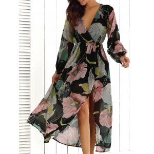 Big Flower Print V Neck Long Sleeve Maxi Dress