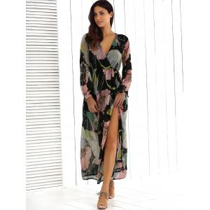 Big Flower Print V Neck Long Sleeve Maxi Dress - FLORAL L