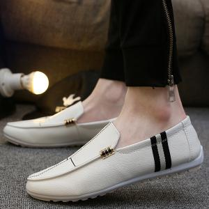 PU Leather Slip-On Stitching Loafers -