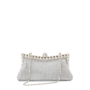 Metal Trimmed Rhinestone Evening Bag