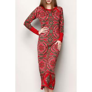Jacquard Print Ethnic Style Sweater Dress