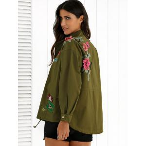 Stand Neck Rivet Embroidered Patchwork Coat - ARMY GREEN S