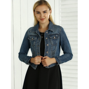 Hollow Out Pocket Design Topstitching Jacket -