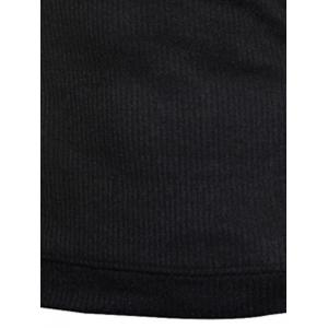 Ribbed Shoulder Patch Claw Button Long Sleeve Sweater - BLACK L