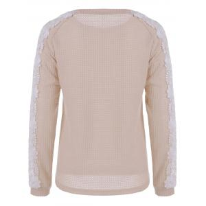 Lace Patchwork Sweater - LIGHT APRICOT S