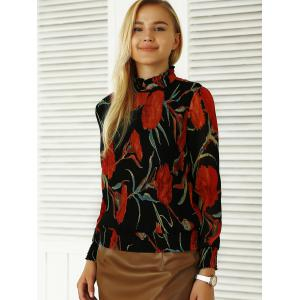 Pleated Flowers Print Ruffled Blouse -