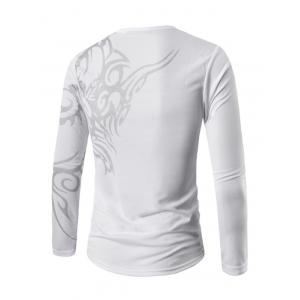 Round Neck Long Sleeve Tattoo Print T-Shirt - WHITE XL