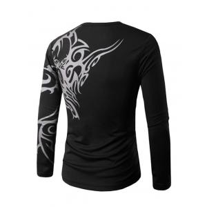 Slim Fit Long Sleeve Tattoo Print T-Shirt -