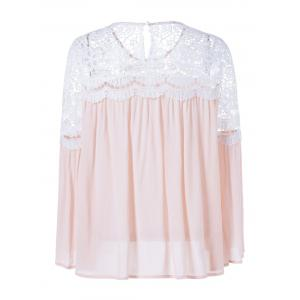 Lace Patchwork Bell Sleeve Smock Blouse -