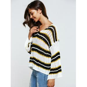 Hollow Out Striped Loose-Fitting Knitwear -