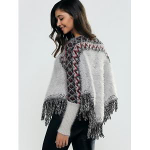 Batwing Sleeves Ribbed Fringed Pullover -