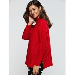 Ribbed Furcal Loose-Fitting Sweater - RED ONE SIZE