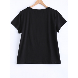 Lip and Letter Print T-Shirt -