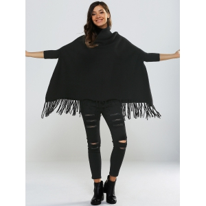 Dolman Sleeves Fringed Loose Fitting Pullover -