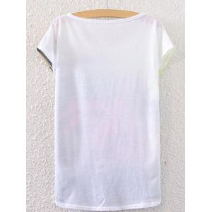 Short Sleeve Car Printed Round Neck T-Shirt - WHITE ONE SIZE(FIT SIZE XS TO M)