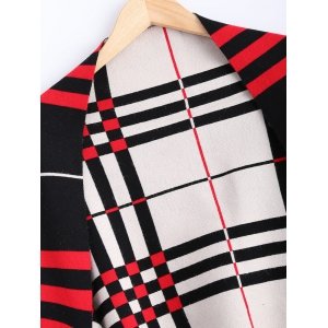 Checkered Asymmetrical Fringed Cardigan -