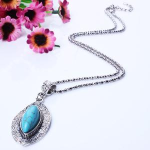 Oval Kallaite Floral Pattern Embellished Sweater Chain -