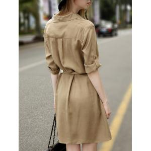 Front Pockets 3/4 Sleeve Belted Mini Shirt Dress -