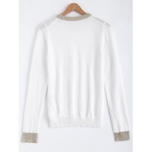 Color Patchwork Stretchy Sweater - WHITE ONE SIZE