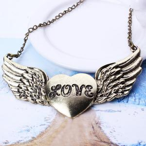 Love Heart Opening Wings Shape Sweater Chain -