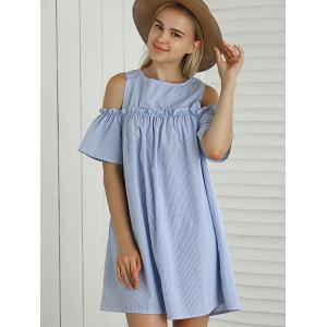 Striped Cut Out Ruffled Casual Dress For Summer - LIGHT BLUE M