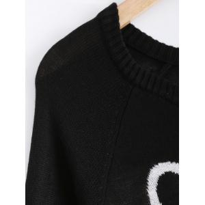 Snowman and Letter Jacquard Sweater - BLACK XL