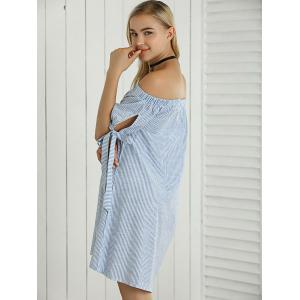 Off The Shoulder Self-Tie Pinstriped Dress -