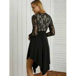 Lace Spliced Sequined Irregular Dress -