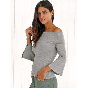 Retro Bell Sleeve Slimming Ribbed Off The Shoulder Knitwear -