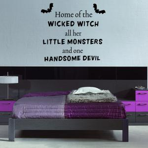 Halloween Proverb Wicked Witch Words Room Decoration Wall Sticker - BLACK