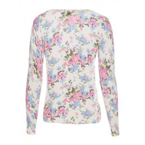 Ribbed Long Sleeves V-Neck Floral Cardigan -