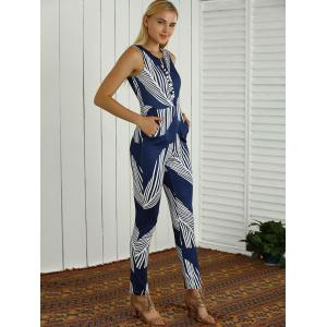 Sleeveless Slimming Feather Print Jumpsuit -