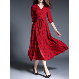 Star Print Faux Wrap Belted Maxi Dress - RED XL