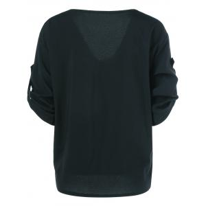 V Neck Bat Sleeve Loose Tee -