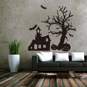 Halloween Spook House and Pumpkin Pattern Room Wall Sticker - BLACK