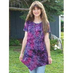 Tie-Dye Asymmetrical Short Sleeve T-Shirt -