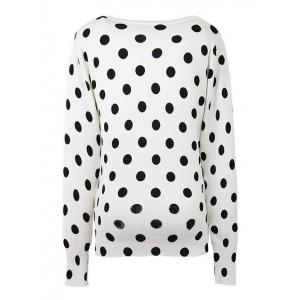 Two-Tone Polka Dot Ribbed Hem Cardigan -