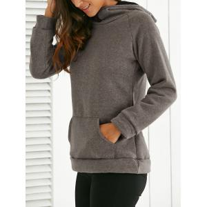 Hooded Long Sleeve Front Pocket Design Hoodie -