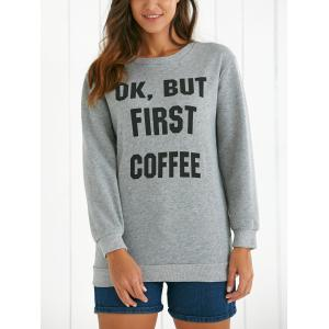 Round Neck Long Sleeve Letter Pattern Sweatshirt -