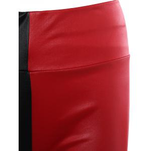 Color Patchwork Slimming Leather Pants -