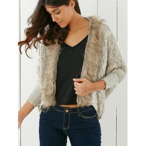 Fashionable Solid Color With Faux Fur Long Sleeve Women's Cardigan - LIGHT KHAKI ONE SIZE