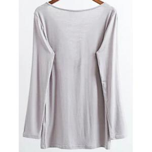 Long Sleeves Lace-Up T-Shirt - GRAY S