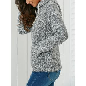 Hooded Long Sleeve Pocket Design Women's Sweater - LIGHT GRAY ONE SIZE