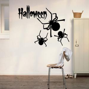 Halloween Letter Spider Pattern Waterproof Room Vinyl Wall Sticker - BLACK